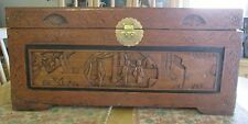 VGT ASIAN CHINESE? HAND CARVED WOOD CAMPHOR BLANKET CHEST BEAUTIFUL DETAIL