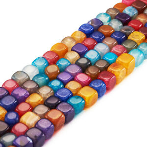 5 Strds Colorful Natural Agate Stone Beads Smooth Cube Loose Beads Dyed 7.5~8mm