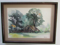 Vintage Bonne Framed Farm House Ranch Shack Wall Art Print Watercolor