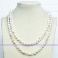 Genuine Natural Freshwater White Pearl Necklace Long 35 inch