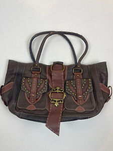 Betsey Johnson Leather Studded Two Tone Brown Shoulder Bag Purse