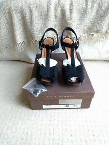 Rare Chie Mihara Omizu leather BLACK suede heels size 39 UK 6