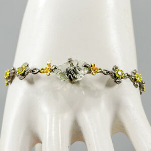 """One of a kind Green Amethyst Bracelet 925 Sterling Silver  Inches 8.75""""/BR05570"""