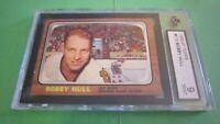 1966 topps (OPC) hockey card of Bobby Hull card # 112 graded mint 9