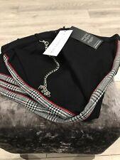 NWT Mauvais Black Cropped Check Side Stripe Trousers Detachable Chain Size UK30R