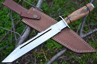 "HUNTEX Handmade J2 Steel 14"" Long Olive WoodFull Tang Hunting Bowie Dagger Knife"