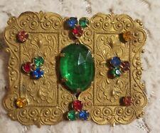 Multicoloured Glass Stones Pin Vintage Czech Brooch Oblong Filigree
