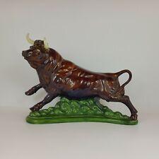 More details for retro ceramic fighting brown bull figurine - 5453 oa