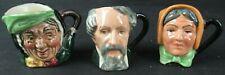 3 Royal Doulton Miniature Toby Mugs: Charles Dickens, Mrs. Bardell, Sairey Gamp
