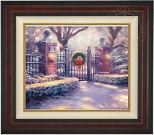 Thomas Kinkade Christmas Gate 20 x 24 LE S/N Canvas (Burl Frame)