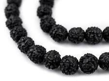 Black Rudraksha Mala Prayer Beads 10mm Nepal Round Wood 43 Inch Strand