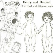"""Rare 16"""" cloth rag fabric doll w/ 20 piece boy and girl wardrobe sewing pattern"""