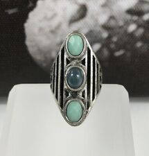 Lucky Brand Woman Distressed Silver Blue Green Stones Size 7 Boho Bohemian Ring