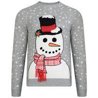 Mens Threadbare Novelty 3D Snowman Funny Christmas Xmas Knitted Jumper Sweater