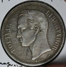 """NIce 1910 """"Oval O"""" Venezuela 5 Bolivares Silver Coin!"""