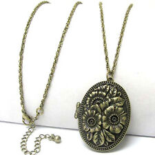 "Vintage Oval Rose Scent Aroma Locket Pendant with 30"" Antiqued Brass Necklace"