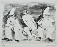 Harald Metzkes - Zwei Pantalone und ein Akt - Radierung - 1982 - 50/50