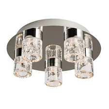 Endon Imperial flush LED bathroom ceiling light IP44 5x 4W chrome glass bubbles