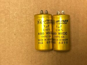2 NOS Vintage 1962 Jensen 1.0 uf 400v PIO Capacitors Type OA TEST GOOD 1 (Qty)