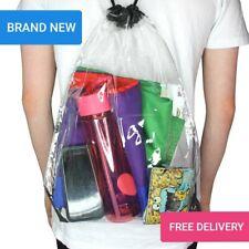 Clear Drawstring Bag UK P&P Thick Transparent PVC GYM Sport Football Back pack