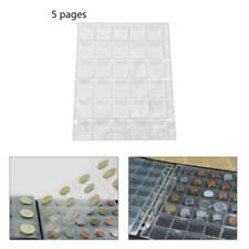 5 Pages 30 Pockets Classic Coin Holder Sheets For Storage Collection Album EAZ