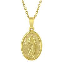 "18k Gold Plated Virgin Mary Pendant Girls Kids Christening Baptism Jewelry 16"""