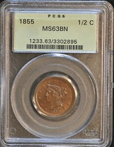 1855 Braided Hair Half Cent. C-1, the only known dies. MS-63 PCGS OGH