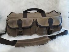 Vtg LL Bean Waxed Canvas Duffle Bag Leather Trim Handles, Strap Weekender USA
