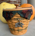 Longaberger Sage Autumn Pail Basket, Liner, Protector, Lid, And Tie On Combo