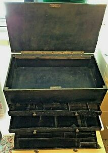 Meccano Vintage Wooden 3-Drawer Storage Box w/ Large Top Compartment 47x26x28cm