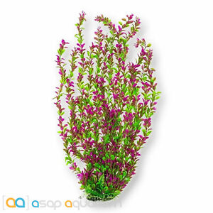 """AquaTop Pink & Green Leafy Plant 26"""" Tall Aquarium Decoration with Weighted Base"""