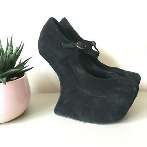 Jeffrey Campbell Night Walk Black Suede Platform Shoes Havana Last US8.5M UK6 39