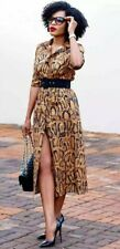 ZARA LEOPARD PRINT MIDI DRESS BLACK BELTED SIZE S BUTTONED TO FIT APPROX UK 12