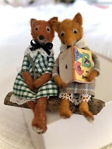 Miniature Handmade Foxes by V LUX Dolls House Animals