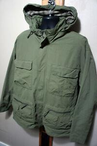 Vtg Cabela's Drab Green Hooded Mesh Lined 10 Pocket Cargo Hunting Jacket Coat 72