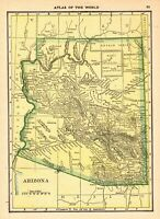 1910 Antique Map of Arizona Original Vintage Arizona State Map smap 7525