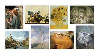 Quadri famosi 8 Pezzi Stampa su Tela con Telaio in Legno arredo arte museo