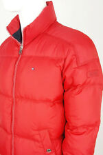 TOMMY HILFIGER Men Coat Jacket Goose Down Feather Filled Padded Puffer Zip Red M