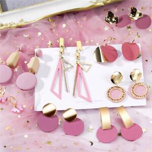 2021 New Women Boho Earring Tassel Pearl Crystal Acrylic Geometric Drop Earrings