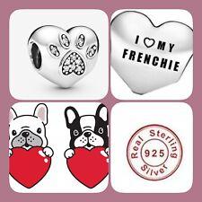 🦋💜 STERLING SILVER 925 I LOVE MY FRENCHIE DOG HEART CHARM FRENCH BULLDOG