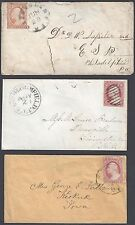 US 1850s SIX COVER FRANKING 3¢ WASHINGTON IMPERFS ALL TYPE II W/DIFFERENCE COLOR
