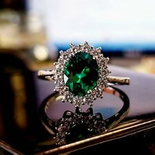 White gold finish oval Cut green Emerald created diamond ring size R gift boxed