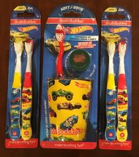 Hot Wheels Cars Soft Children's Toothbrush Kit Rinsing Cup 5 Toothbrushes & Cap