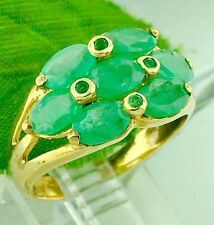 14k Solid Yellow gold  Natural Emerald Oval ring  cluster 2.10 ct  3.70 grams