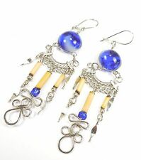PERU ETHNIC BLUE GLASS ALPACA SILVER EARRINGS HANDMADE INCA LOVE KNOT BAMBOO