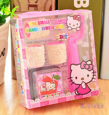 New Cute Hello Kitty Kids Small Handle Wheel DIY Rubber Stamper Stamps Set