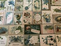 Nice~Lot of~25~FORGET-ME-NOTS~FLOWERS~Antique greeting~Postcards-in Sleeves-a78