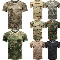 US Men Slim Fit Camo T-shirt Military Short Sleeve Tee Shirts Army Tactical Tops