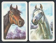 #930.269 vintage swap card -MINT pair- Bridled horse heads, brown & white