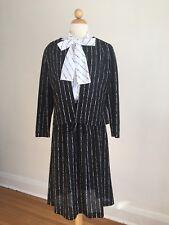 Flawless Vtg Sherri Lynn Ii Black & White Secretary Dress w/ Jacket & Belt Sz M